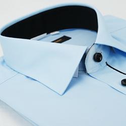 金‧安德森 藍色門襟黑配色窄版長袖襯衫fast