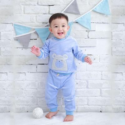 【Deux Filles有機棉】棉絨兒童上衣T恤-藍色