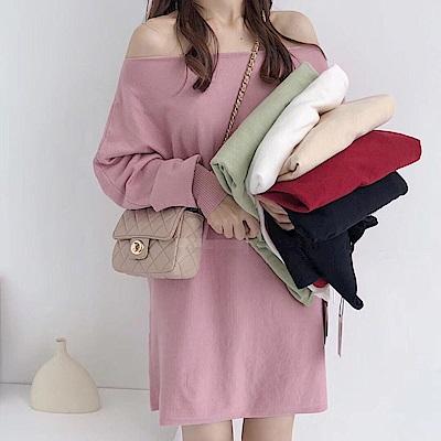 La Belleza一字領露肩燈籠袖仿兔絨料針織包臀洋裝(情人節送禮)