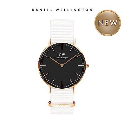 DW 手錶 官方旗艦店 36mm玫瑰金框 Classic 純淨白x黑錶面 織紋手錶
