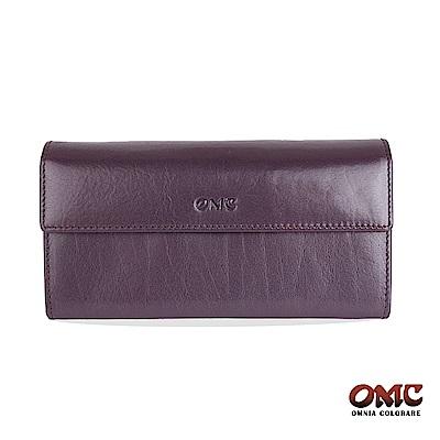 OMC 原皮系列-植鞣牛皮翻蓋壓扣多隔層零錢長夾-紫色