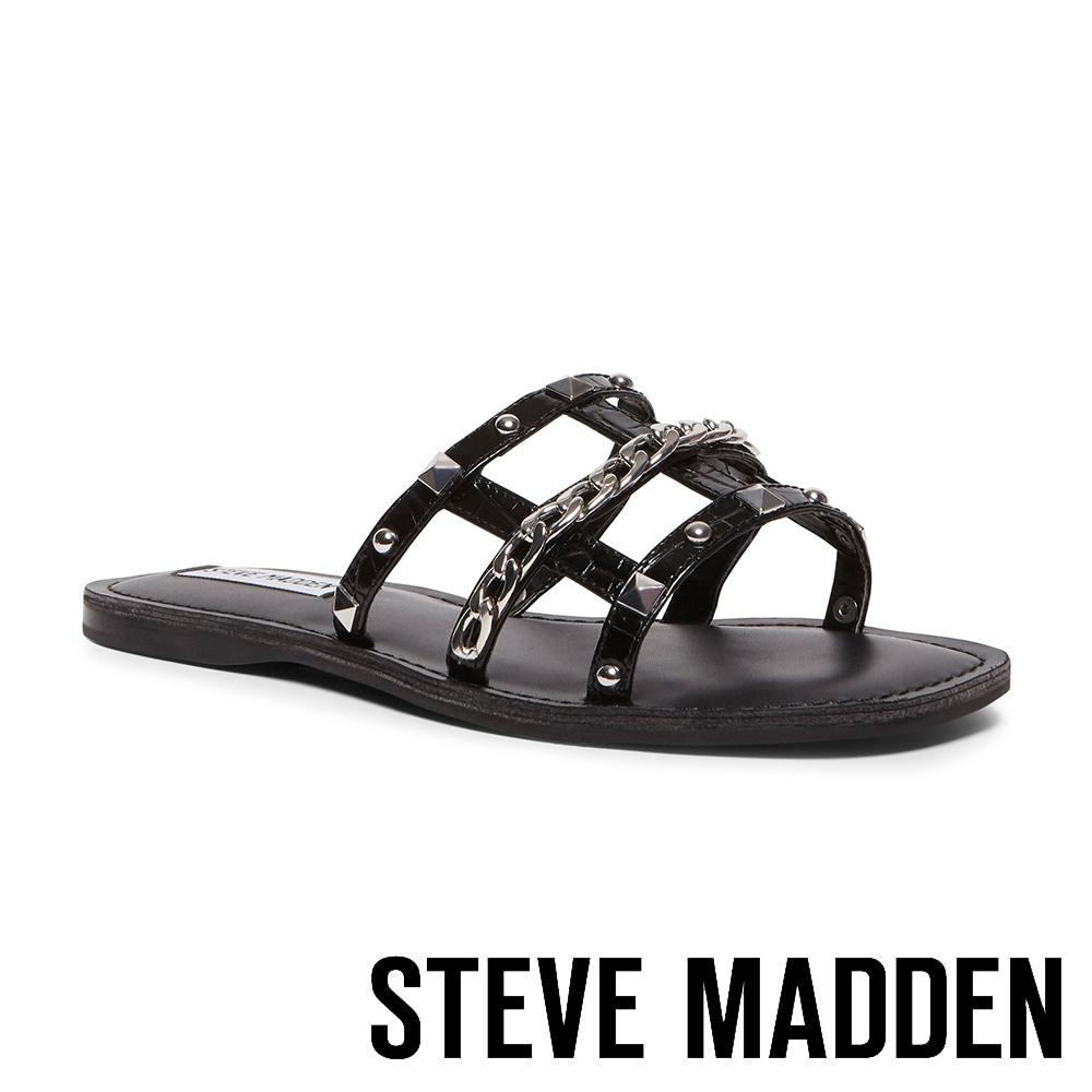 STEVE MADDEN-HARP 時尚飾扣皮質涼拖鞋-黑色