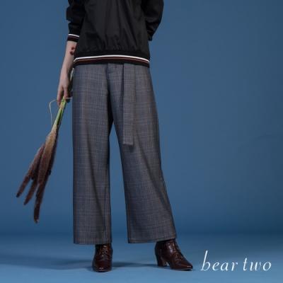 beartwo - 格紋附腰帶寬褲 - 灰