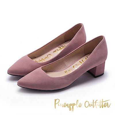 Pineapple Outfitter 時髦舒適感 麂皮尖頭粗跟鞋-絨粉