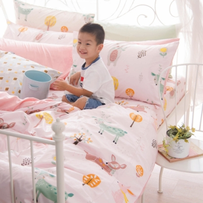 OLIVIA  小森林 粉 加大雙人床包兩用被套四件組 300織精梳純棉 台灣製