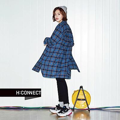 H:CONNECT 韓國品牌 女裝-棉質格紋長版襯衫-藍