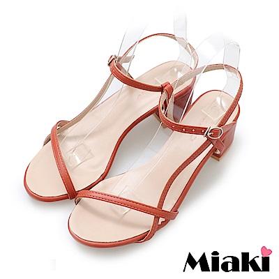 Miaki-涼鞋韓妞嚴選細帶高跟鞋-紅