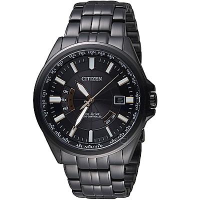 (無卡分期6期)星辰CITIZEN世界城市光動能電波腕錶( CB0185-84E)- 黑