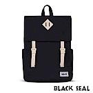 福利品 BLACK SEAL 聯名8848系列- 撞色拼接雙皮帶釦後背包- 經典黑
