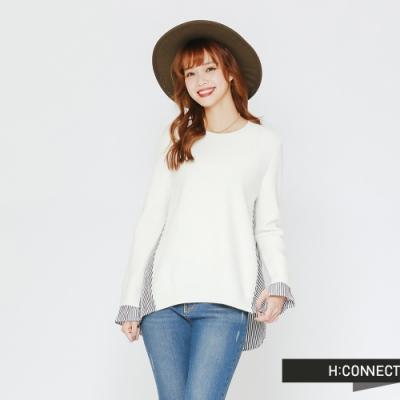 H:CONNECT 韓國品牌 女裝-條紋拼接薄針織上衣-白(快)
