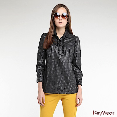KeyWear奇威名品    古典圓點珍珠光澤長袖上衣-黑色