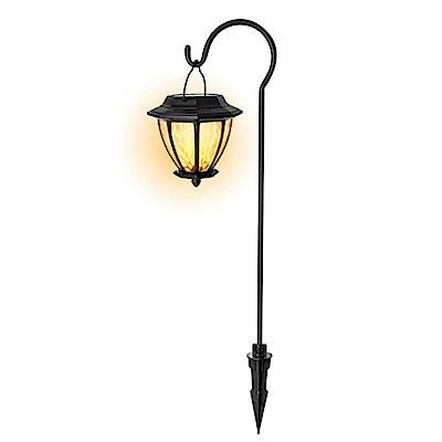 KINYO 金屬吊掛太陽能防潑水光控黃光LED庭園燈