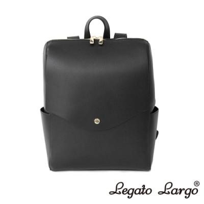 Legato Largo 驚異的輕量化 小法式簡約線條 皮革後背包 黑色