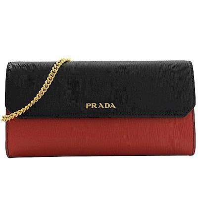 PRADA 金屬LOGO雙色水波紋斜背式長夾(黑/紅)