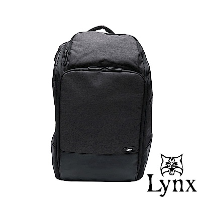 Lynx -美國山貓 職人商務休閒防潑水多隔層筆電後背包-黑色