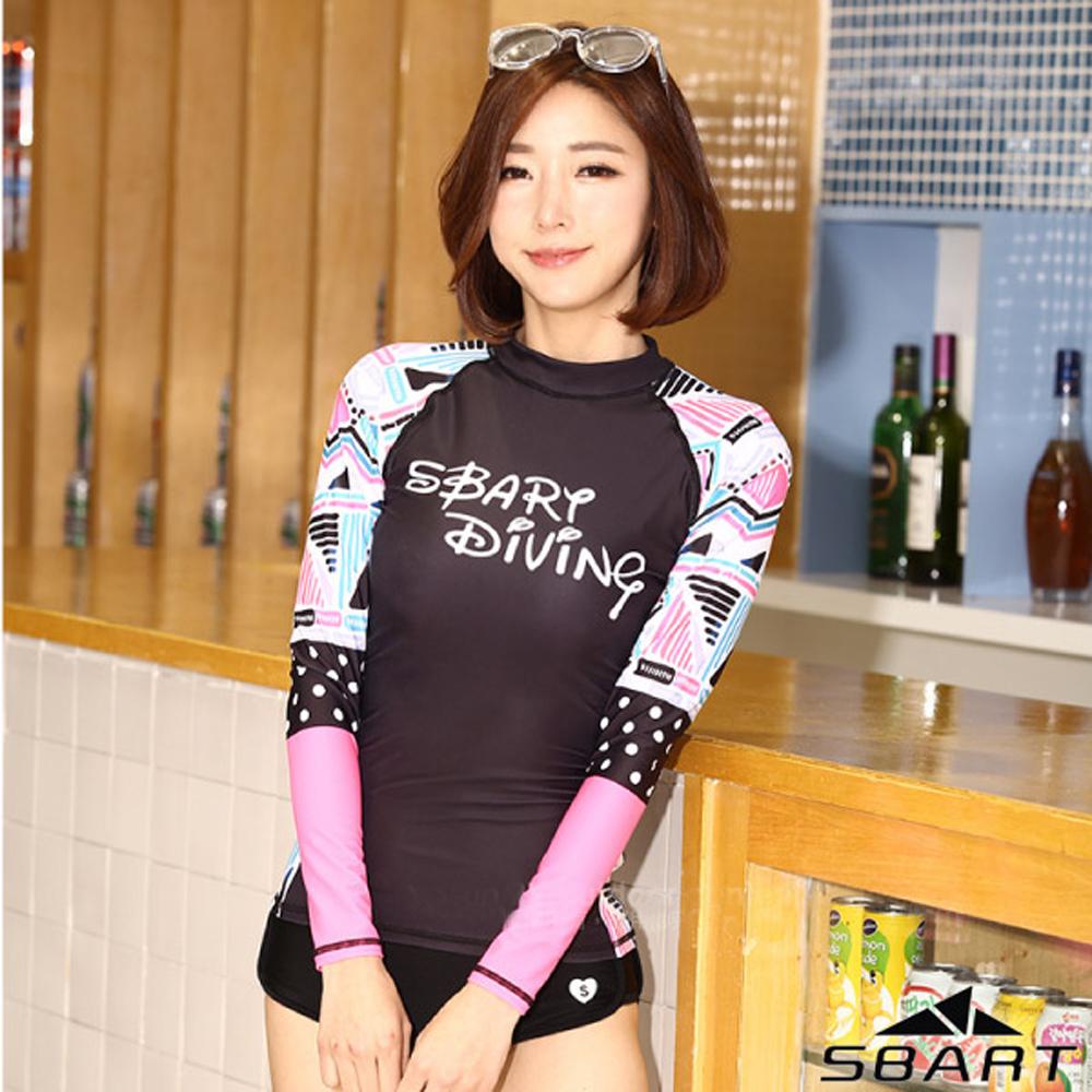 【SBARTY】女時尚新款 印花長袖緊身彈性防曬潛水上衣_彩漾黑