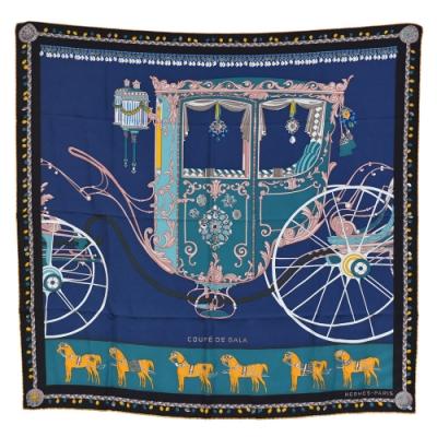 HERMES 遊戲絲質方巾/披巾(海洋藍)