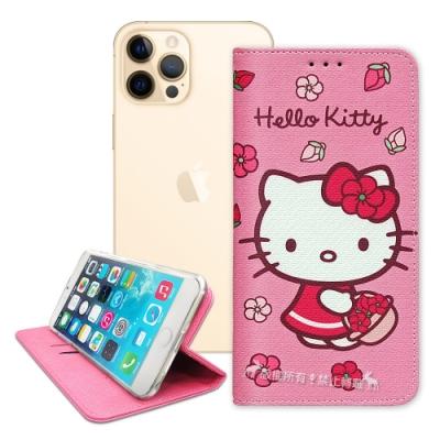 三麗鷗授權 Hello Kitty iPhone 12 Pro Max 6.7吋 櫻花吊繩款彩繪側掀皮套