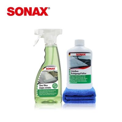 SONAX 玻璃油膜清潔組 德國原裝 贈擦拭布 車內外玻璃 油膜清除 玻璃保養-急速到貨
