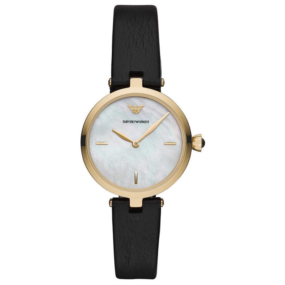 Emporio Armani 亞曼尼 優雅珍珠貝手錶(AR11200)-金框/32mm