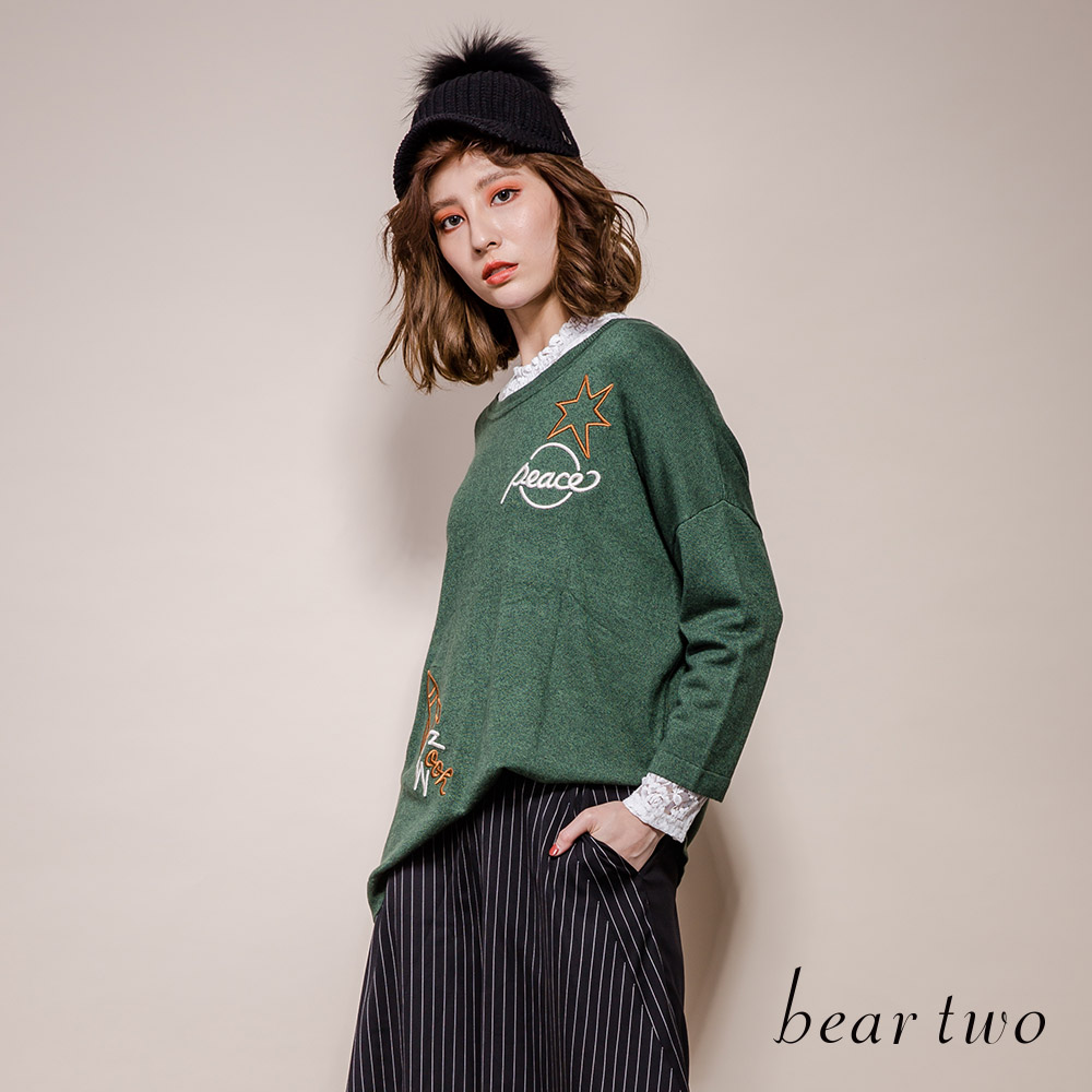 beartwo Peace火箭立體刺繡造型線衫上衣(2色)