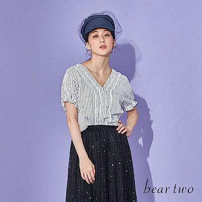 beartwo 小緹花直條紋澎澎袖V領上衣(二色)