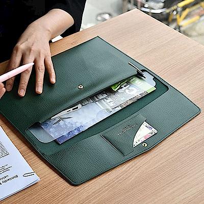 PLEPIC 職人皮革手拿文件包-森林綠