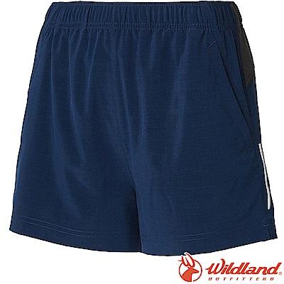 Wildland 荒野 W1505-72深藍色 女四彈抗UV休閒運動短褲