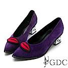 GDC-真皮新潮歐美大牌紅唇銀鞋跟尖頭高跟鞋-紫色