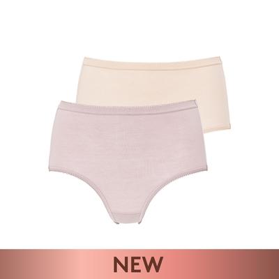 黛安芬-單品褲系列 棉感包臀高腰三角內褲2件包組 M-EEL 粉膚二色