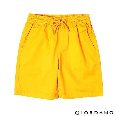 GIORDANO 童裝素色鬆緊腰卡其短褲-42 琥珀黃