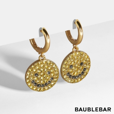 美國 BaubleBar 90年代復古笑臉鍍金耳環 Smiles Huggie Earrings