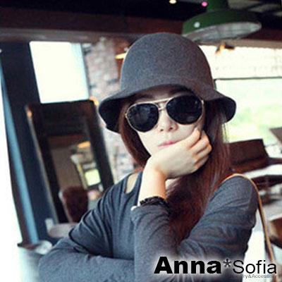 AnnaSofia 簡約單色 純羊毛圓帽禮帽漁夫帽(深灰系)