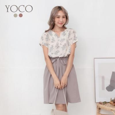 東京著衣-YOCO 浪漫花語V領假兩件附綁帶洋裝-S.M.L(共二色)