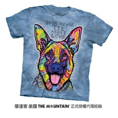 摩達客(預購)美國進口The Mountain 彩繪開心德國狼犬 純棉環保短袖T恤