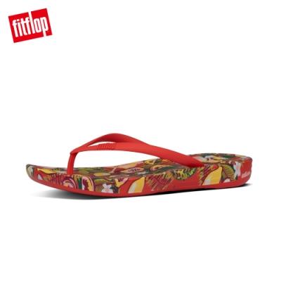 FitFlop IQUSHION FLORAL-PRINT FLIP-FLOPS 印花輕量人體工學戲水夾腳涼鞋-女(紅色)
