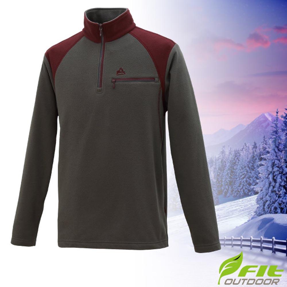 FIT 男 超輕彈性立領加厚刷毛長袖排汗保暖上衣_HW1108-75 碳灰 V
