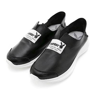 PLAYBOY率性提案 V口柔軟真皮休閒便鞋-黑
