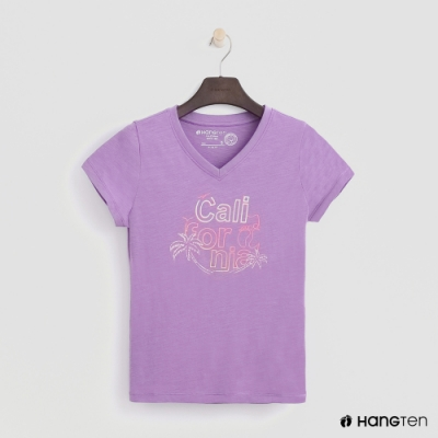 Hang Ten -女裝 - 有機棉-加州清涼造型短T - 紫