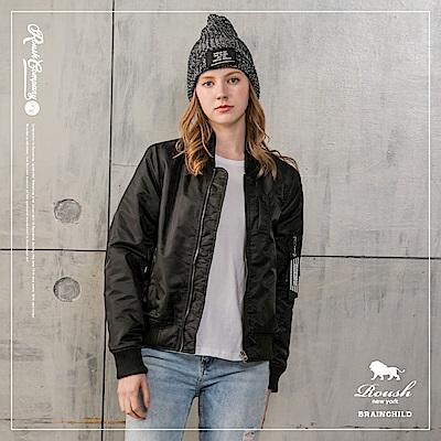 ROUSH 女生MA-1黑色織帶鋪棉飛行外套 (3色)