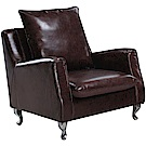 文創集 雷蒙復古咖透氣皮革單人座沙發椅-84x80x92cm免組