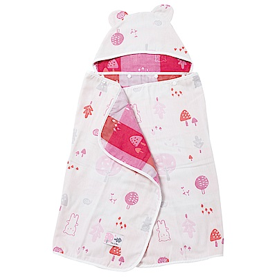 奇哥 森林家族四層紗浴巾/包巾-粉紅