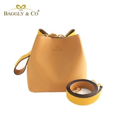 【BAGGLY&CO】百變寬背帶撞色水桶包