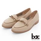 【bac】週末輕旅行 - 柔和色調壓紋飾釦牛津鞋-淺棕色