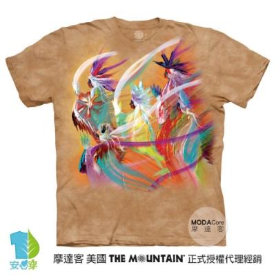 摩達客-美國進口The Mountain 印第安彩虹舞 純棉環保藝術中性短袖T恤