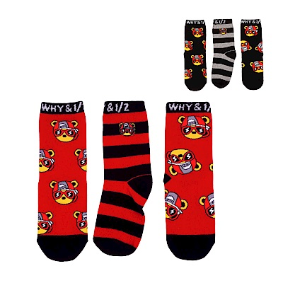 WHY AND 1/2 mini 三件組普普熊短襪 多色可選