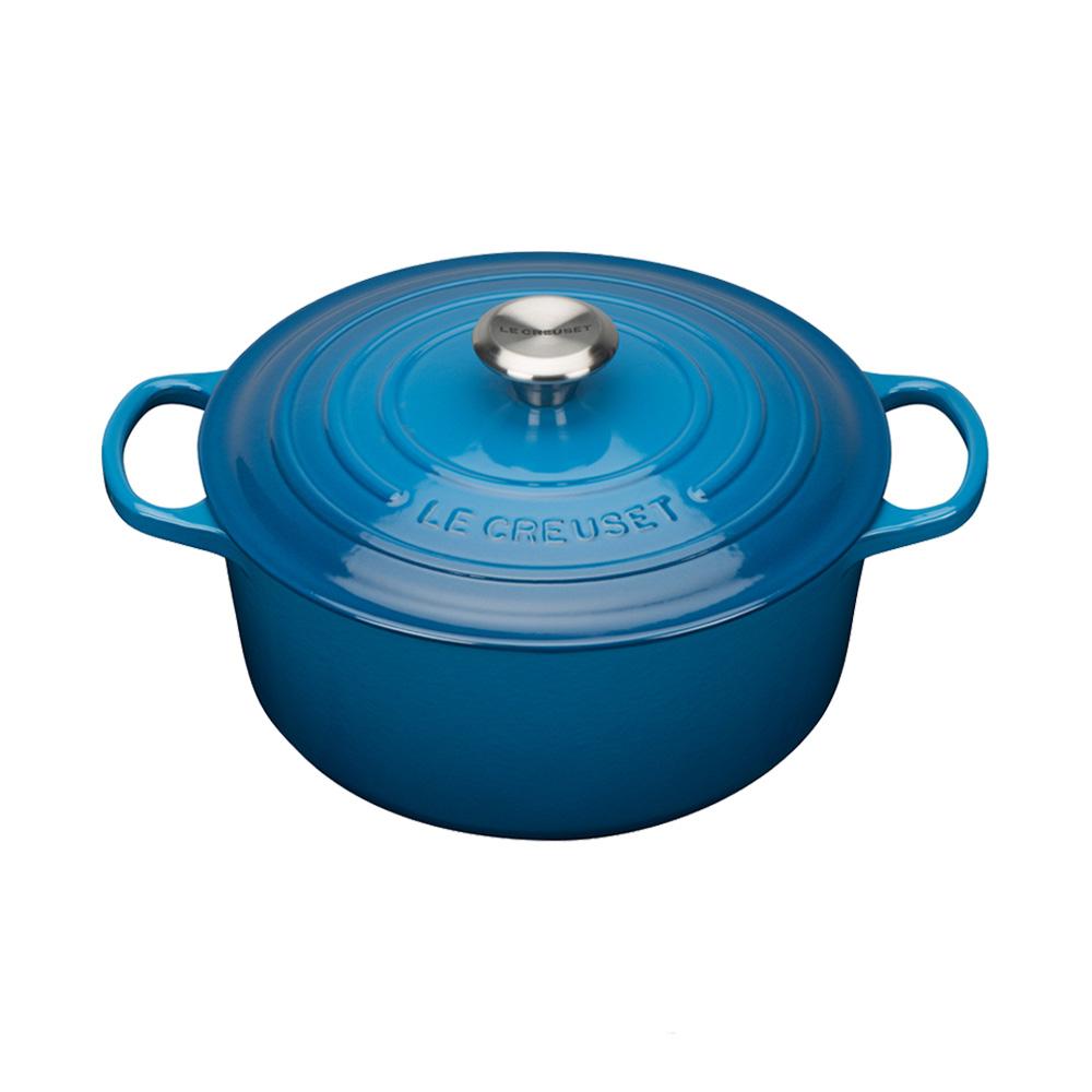 LE CREUSET琺瑯鑄鐵典藏圓鍋22cm-馬賽藍-鋼頭