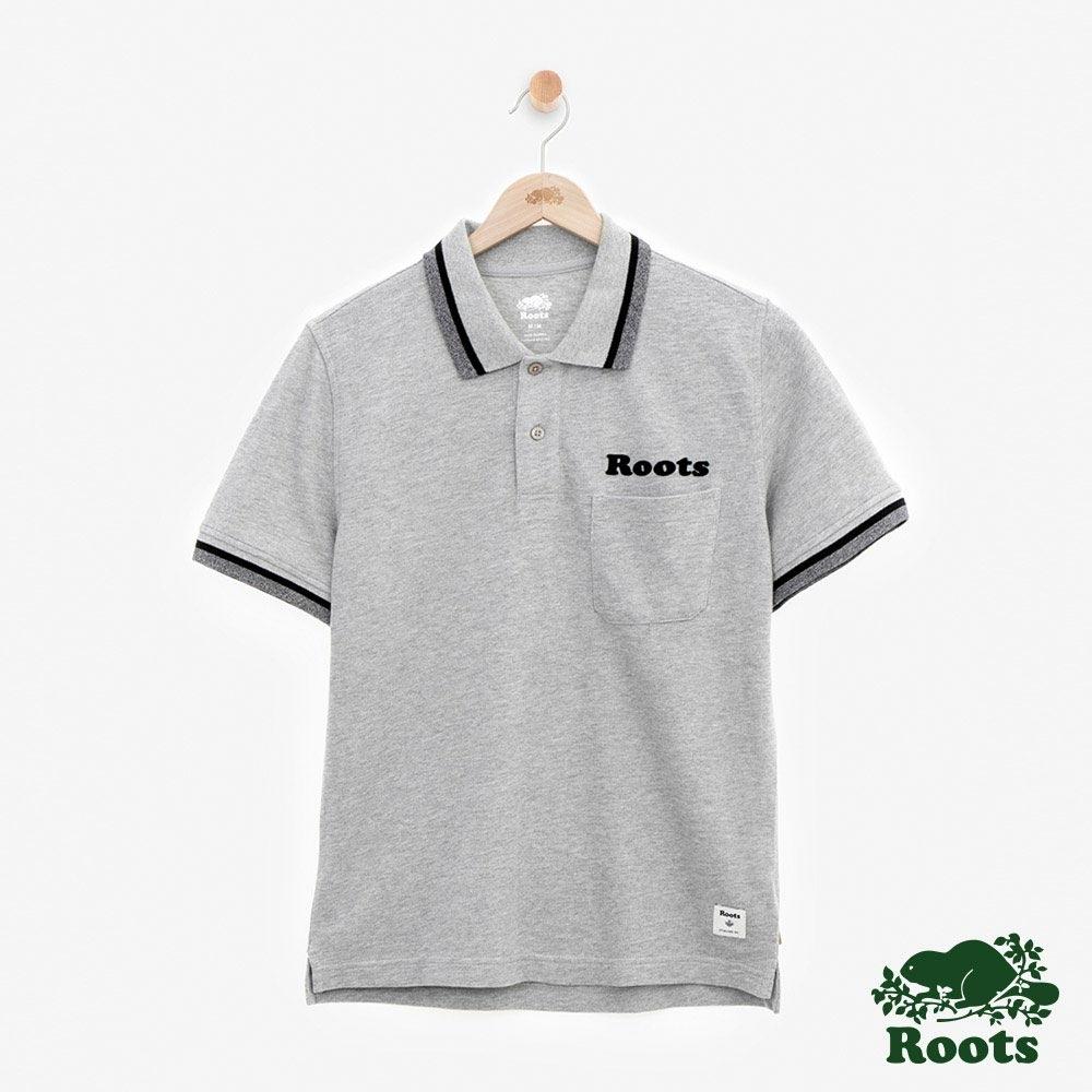 男裝Roots-左胸口袋短袖POLO衫-灰色