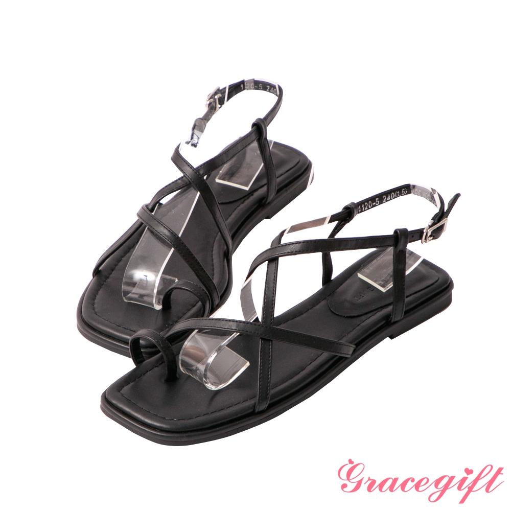 Grace gift-交叉套指平底涼鞋 黑