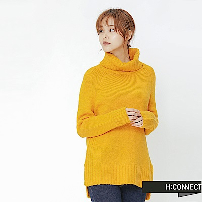 H:CONNECT 韓國品牌 女裝-側開岔翻領針織毛衣-黃